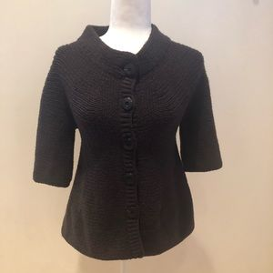 VINCE Wool Chunky Knit Mid Sleeve Button Cardi S